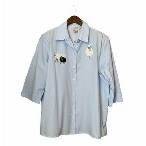 🌷3/$20 Allison Daley 90s Sheep Appliqué Button Up